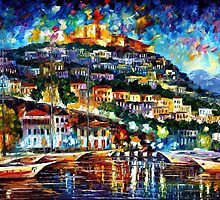 GREECE - original oil painting on canvas by Leonid Afremov by Leonid  Afremov
