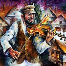Fiddler - original oil painting on canvas by Leonid Afremov by Leonid  Afremov