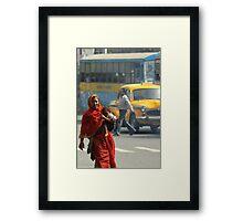 Mum and Bub Taking on the Traffic (Kolkata) Framed Print