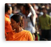 Orange Sari (Kolkata) Canvas Print