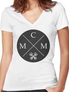 Crossed MCM Badge Women's Fitted V-Neck T-Shirt