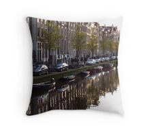 Amsterdam - Reflections at dusk in canal Throw Pillow