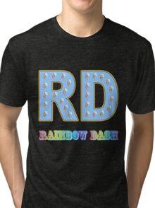 My little Pony - Initials Rainbow Dash - Black Tri-blend T-Shirt