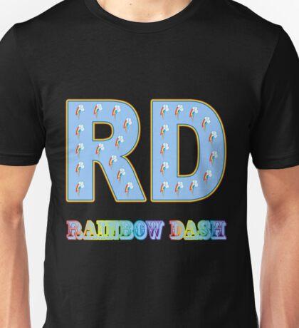 My little Pony - Initials Rainbow Dash - Black Unisex T-Shirt