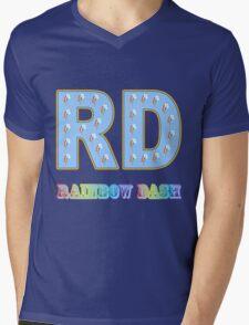 My little Pony - Initials Rainbow Dash - Black Mens V-Neck T-Shirt