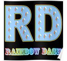 My little Pony - Initials Rainbow Dash - Black Poster