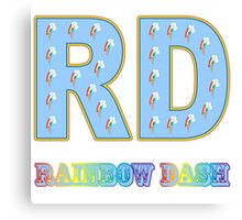 My little Pony - Initials Rainbow Dash - White Canvas Print