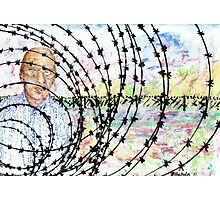 Self Portrait behind Barbed wire Photographic Print