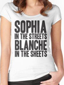SOPHIA IN THE STREETS BLANCHE IN THE SHEETS Women's Fitted Scoop T-Shirt