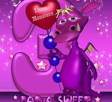 3rd Birthday Card With Cute Purple Monster by Moonlake