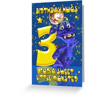 3rd Birthday Card With Cute Blue Monster Greeting Card