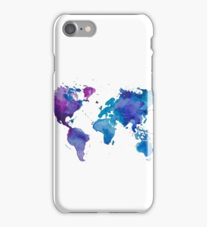 Watercolor Map of the World iPhone Case/Skin