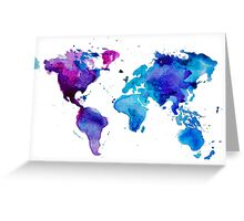 Watercolor Map of the World (t-shirt) Greeting Card