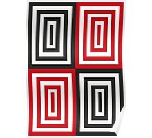Trippy red & black squared pattern Poster