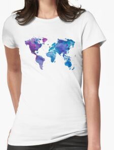 Watercolor Map of the World (t-shirt) Womens Fitted T-Shirt