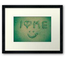 I love me - written in the sand Framed Print