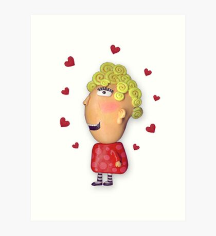 silly lady in love Art Print
