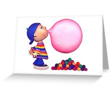 blowing a bubble Greeting Card