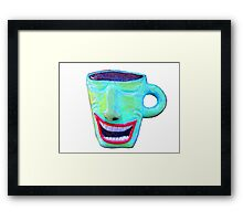 wacky smiling coffee cup Framed Print