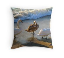 Family rest at coast Throw Pillow