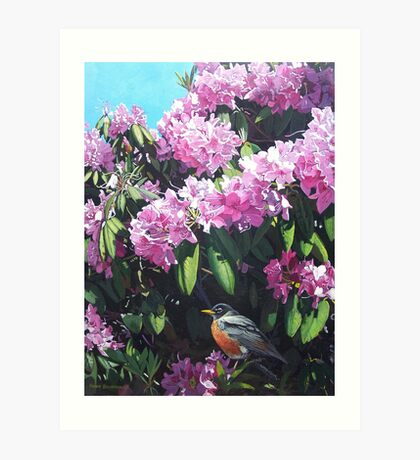 """Rhododendron and Robin"" Art Print"