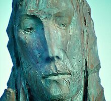 Statue of St Cuthbert, Lindisfarne Priory by Lisa Hafey