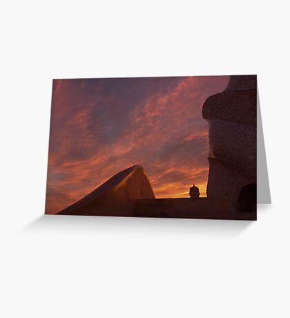 Casa Milà sunset Greeting Card
