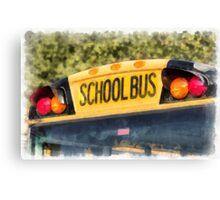 Back To School Bus Watercolor Canvas Print