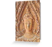 Thai Buddhist Wood Carving Greeting Card