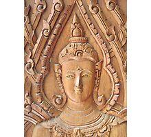 Thai Buddhist Wood Carving Photographic Print