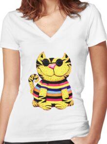 hepcat kool kat Women's Fitted V-Neck T-Shirt