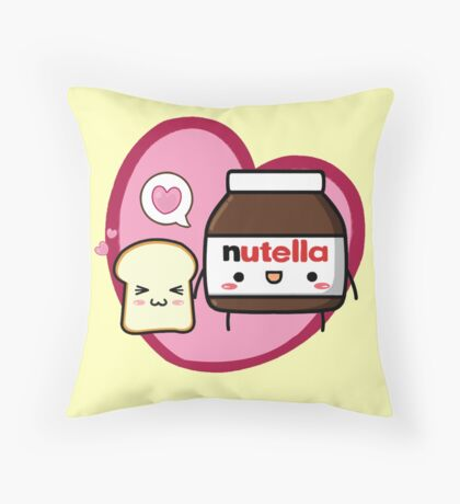 Kawaii Nutella and sandwich bread Throw Pillow