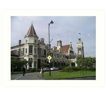 Old Railway Building in Dunedin, New Zealand. Art Print