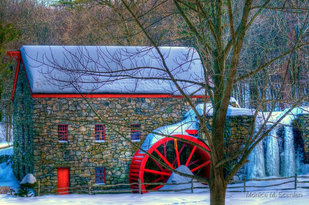 Wayside Inn Grist Mill in Winter by Monica M. Scanlan