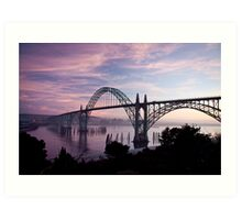 Yaquina Bay Bridge at sunset Art Print