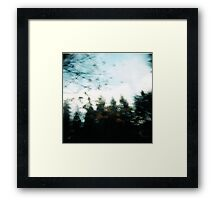 the forest in a blur. Framed Print