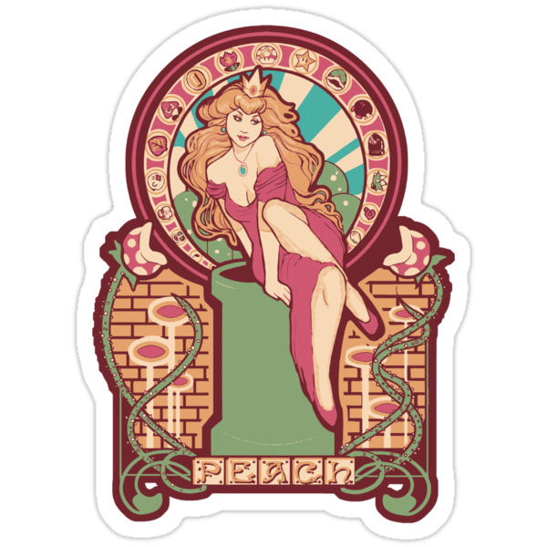 Peach Nouveau STICKERS by MeganLara