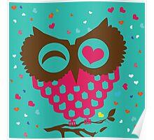 Love Owl Blue Poster