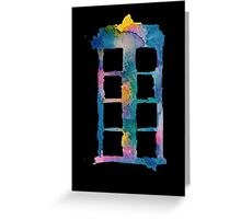 Watercolor Tardis (black)  Greeting Card