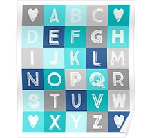 Blue Teal Grey Alphabet art decor pattern Poster