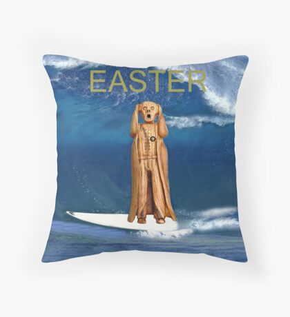 Surfing The Scream World Tour Happy Easter Throw Pillow