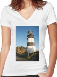 Cape Disappointment Lighthouse, Washington Women's Fitted V-Neck T-Shirt