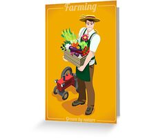 Greengrocer Farmer with Fresh Food Greeting Card