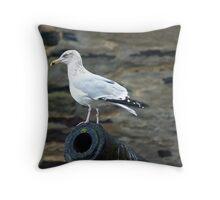 Port Isaac Seagull Throw Pillow