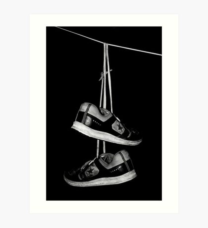 Hanging shoes Art Print