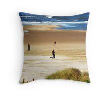 Beach Combers.....Neptune Beach. Yachats, Ore. Throw Pillow