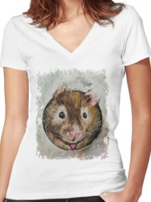 Hamster Love Women's Fitted V-Neck T-Shirt