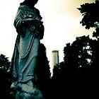 Oakland Cemetery Atlanta - Westin in the background by Liza Cochran