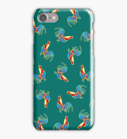 colourful multi Crowing Cockerels, Roosters on aTurquoise background iPhone Case/Skin