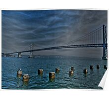 Bay Bridge In HDR Poster